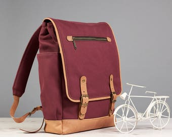 Casual backpack. Waxed canvas day bag. Women canvas leather backpack.  15 inch laptop backpack