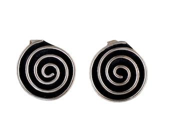 Spiral earring studs, silver earrings, boho earrings, black oxidized earrings, alpaca jewelry, kinky posts, geometric earrings, circle studs