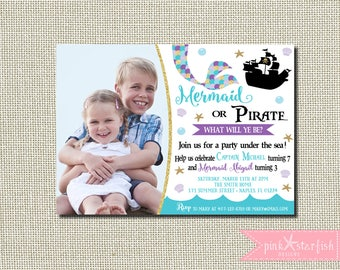 Mermaid and Pirate Invitation, Mermaid and Pirate Birthday Invitation, Dual Birthday Invitation, Sibling Birthday Invitation, Mermaid
