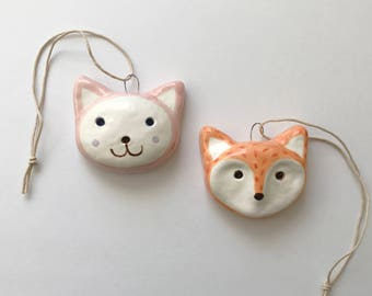 Fox and Cat Ceramic Ornaments