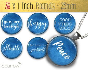 Positive Affirmation Words and Sayings in Watercolor- 1 (One) Inch Round Collage Images - Pendant Images -Buy 2 Get 1 Free -Digital Download