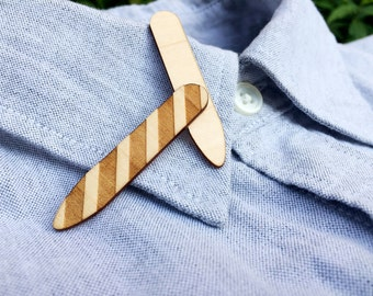 Laser Engraved Striped Wooden Collar Stays–Choose From Four Wood Types