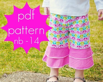 Flounce Ruffle Pants - INSTANT download - pdf sewing pattern - capri or full length - nb - 14 and doll