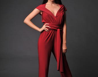 Wine red jumpsuit , wide leg jumpsuit for women , Wedding Convertible Infinity romper