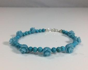 Memorial  Day SALE 30% Turquoise Bracelet, Turquoise Rose Gemstone Bracelet, Genuine Gemstone Bracelet, Birthstone Bracelet