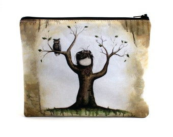 Carved - Zipper Pouch - Girl Tree with Carved Heart and Owl - Art by Marcia Furman