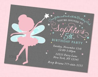 Sweet Fairy Birthday Invitation - Fairy Birthday Invites , Fairy Party Invitations , Fairy Birthday Invite