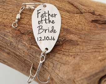 Personalized Father of the Bride Gift - Custom Fishing Lure - Personalized Fishing Lure - FOB Gifts - Gifts for Dad - Pink Lemon Design
