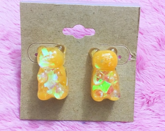 Orange Sparkle Gummy Bear Earrings