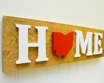 """Cincinnati Bearcats """"State Heart"""" Home Sign - Handcrafted wood with official team colors"""