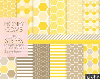 SALE Yellow honeycomb digital paper. Bright yellow and brown honeycomb and stripes. Birthday decoration, wrapping, cards, scrapbooking.