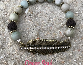 Feather Essential Oil Diffuser Bracelet