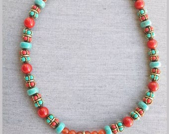 Tibetan red coral necklace and carnelian 8796