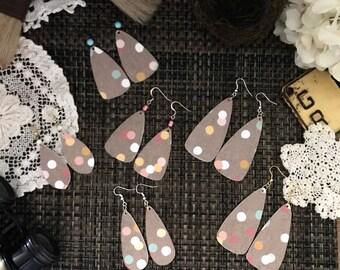 Boho Polka Dot Floral Petal Shape Earrings - Handmade Lightweight Polka Dot Earrings - Boho Style Earrings - Handmade Earrings