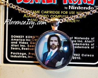 Billy Mitchell King Of Kong Classic Arcade Donkey Kong America Art Photo Pendant W/ Chain Handmade Jewelry Necklace Silver Charm Cabochon