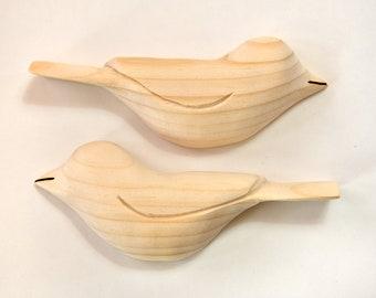 Unfinished Wooden Birds HALF Birds Craft Supply Wood Carving Spring Decor Sculpture Wood Ornament, Adult Craft