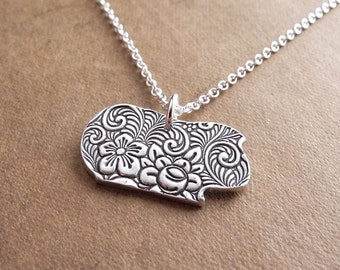 Flowered Short Haired Guinea Pig Necklace, Fine Silver, Sterling Silver Chain, Made To Order