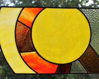 "Sphere"" Stained Glass Window Panel Wall Picture"