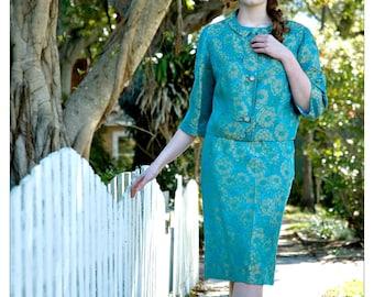 Turquoise Brocade Suit, Womens Vintage Suit, 1950s Suit Women, 50s Suit, Womens Spring Suit, Wedding Guest Dress, Church Suit, Cocktail Suit