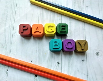 Page Boy Wedding Favour, Page Boy Crayon Gift, Wedding Favours, Wedding Set, Page Boy Gift, Crayon Gift, favour Ideas, Recycled crayons