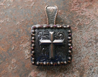 Chunky Western Glam- Bronze Cross Removable Concho Pendant with Bronze Rhinestones