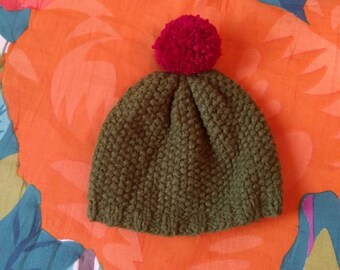 Hand knit cactus hat in toddler size