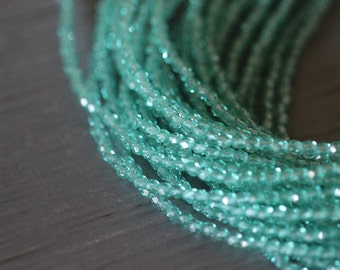 Czech Glass Beads, 3mm, Round, Faceted, Light, Teal, Green Luster, Fire Polished, Faceted, Beads, 50 pieces