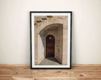 Asymmetrical Brown Door Photography, Architecture Print, Street Photo, City Photography