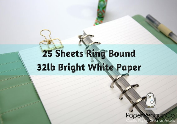 Planner Insert 25 Sheets Bright White 32lb Paper Filofax A5 Personal Pocket Kikki K Large Medium Small Ring Bound Paper Grid Dot Lined Blank