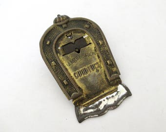 Antique Victorian Advertising Paper Clip M. Myers & Sons 1870 England, Note Holder Clamp, Good Luck Horseshoe Design