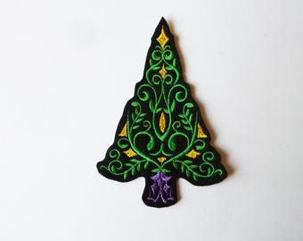 Coat, embroidery, patch fusible Christmas tree
