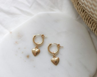Gold Heart Earrings - Mini Hoop Earrings - Gold Filled Earrings - Gold Charm Hoops - Minimalist Hoops - Jewelry Gift for Her - Mother's Day