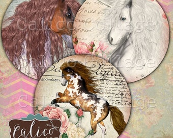 2.5 Inch Circles, Wild Horses, Cowgirl, Pocket Mirror Images, Digital, Collage Sheet, Printable Circles, Digital Images, Calico Collage