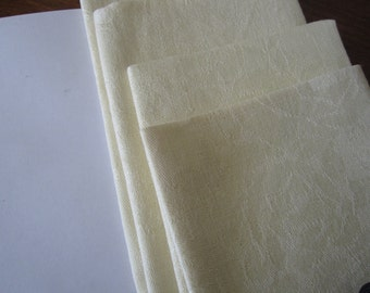 Dinner Napkins Damask Linen Yellow Vintage Four Wedding Gift Bridal Shower Gift for Her
