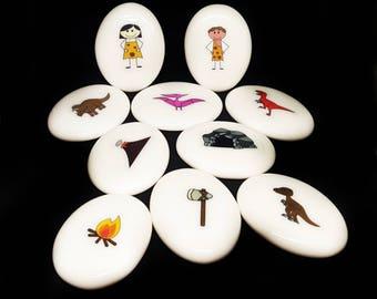 Prehistoric themed set - Creative story stones - FREE standard shipping within Australia