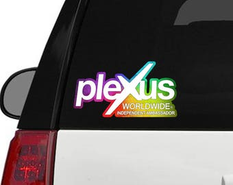 "Plexus Worldwide Window Decal Custom Rainbow Print Outline 11.5"" x 6.1"" (Glossy)"