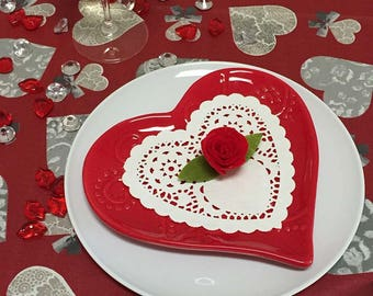 French Tablecloth, Valentine Tablecloth,  Coated Tablecloth