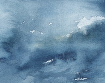 """Light through the Clouds 3, Original Abstract Waterscape Painting, Watercolour, 5"""" X  7"""""""