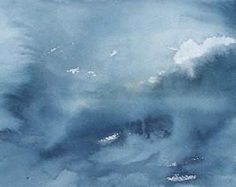 """Lumière à travers les nuages 3, la peinture abstraite aquatiques, l'aquarelle, 5 """"X 7"""""""