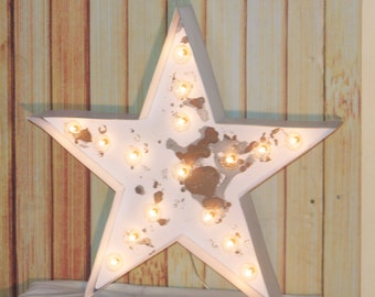 LARGE Old Vintage Style Marquee Star Metal Steel...........       Wedding Birthday Home Logo Business Decor