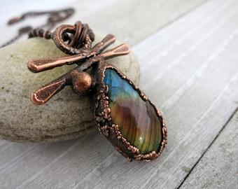 Spectrolite Teardrop Necklace, Multi Color Labradorite Natural Stone Pendant, Electroformed Copper,  Zen Inspired Jewelry