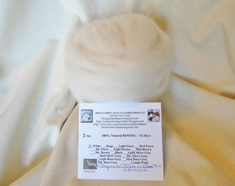 2 oz White Alpaca ULTRA FINE (Montauk) Roving - for Spinning, Nuno Felting or Needlefelting