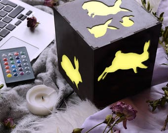 Rabbit animal, Led lamp, Rabbit vintage, Rabbit baby, Rabbit girl, Rabbit boy, Rabbit home decor, Rabbit wood, Rabbit lover gift, Rabit kit