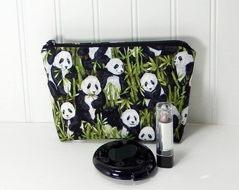 Small Makeup Bag - Panda zipper pouch - cosmetic bag - laminated lining - made in Maine - Purple Grace panda makeup bag