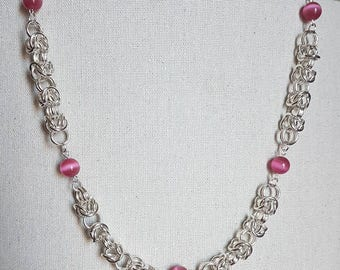 Hot Pink Bead Necklace with Byzantine Chain