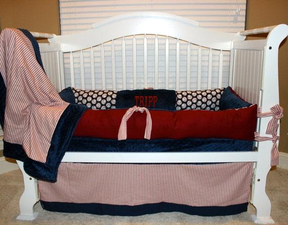 Custom Baby Bedding Vintage Baseball 4 Pc Set