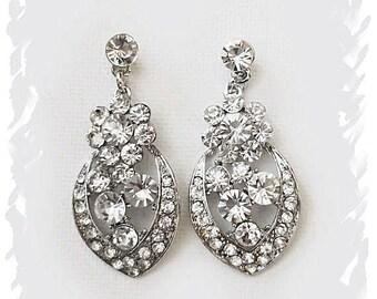 Crystal Bridal Earrings Wedding Jewelry Zircon Drop Earrings Art Deco Bridal Crystal Earring Gatsby Wedding Earrings Bridesmaid