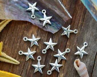 Sterling Silver Mini Star Charms, 11x14mm, 2pcs / Nunn Designs, Star Pendants, Patriotic, Beach Charms, Sea Star, Jewelry Supplies