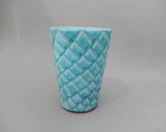 Turquoise Pottery Ceramic Vase, Wide Top Cylinder Vessel, Handmade Carved Flower Vase