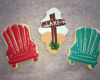 Adirondack Chairs, Beach, Lake Theme Sugar Cookies, Set of 12